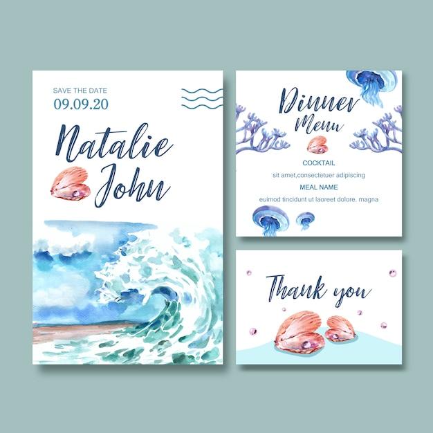 Acquerello dell'invito di nozze con il concetto dell'onda, illustrazione creativa dell'acquerello. Vettore gratuito