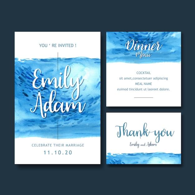 Acquerello dell'invito di nozze con il tema blu-chiaro, illustrazione bianca del fondo Vettore gratuito