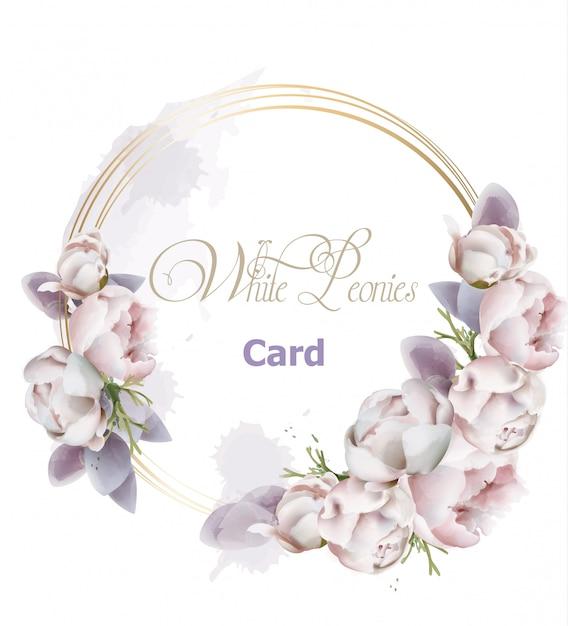 Acquerello della carta della corona dei fiori della peonia Vettore Premium