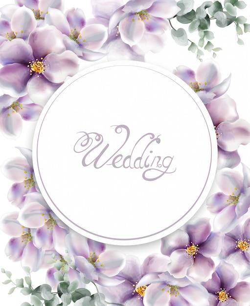 Acquerello della carta di nozze dei fiori della ciliegia Vettore Premium