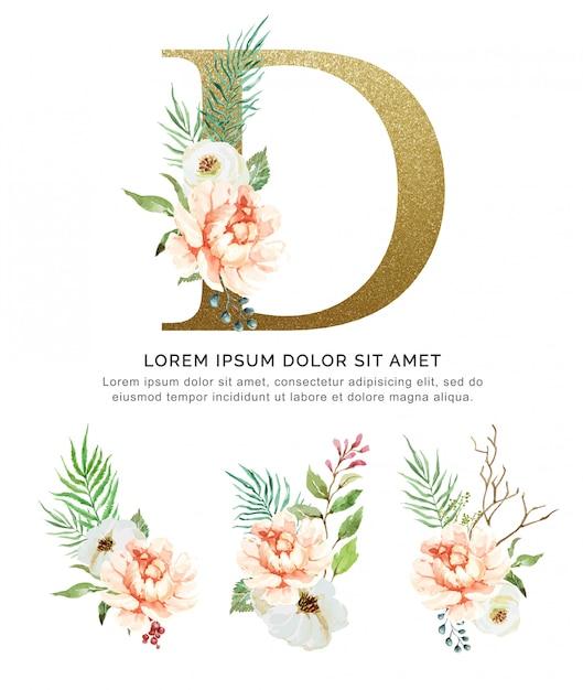 Acquerello della raccolta del fiore e delle foglie del mazzo di alfabeto d. Vettore Premium