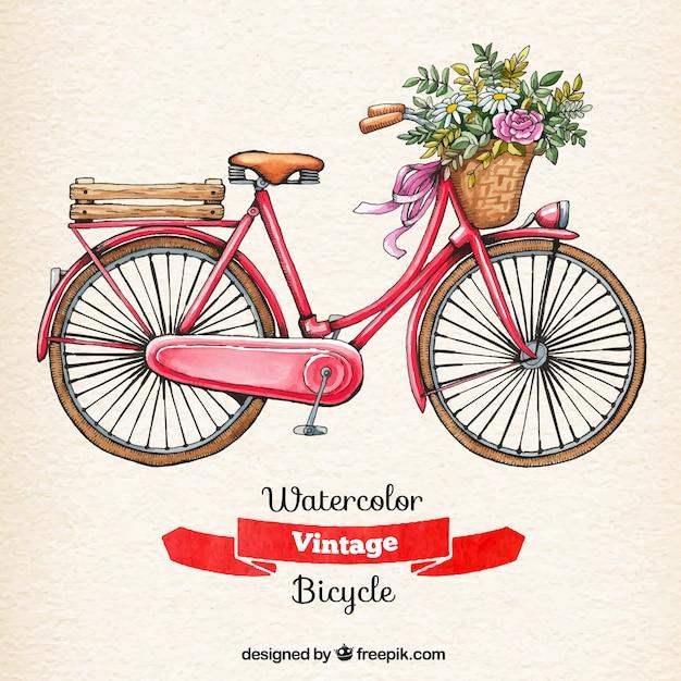 Acquerello di biciclette d'epoca Vettore gratuito