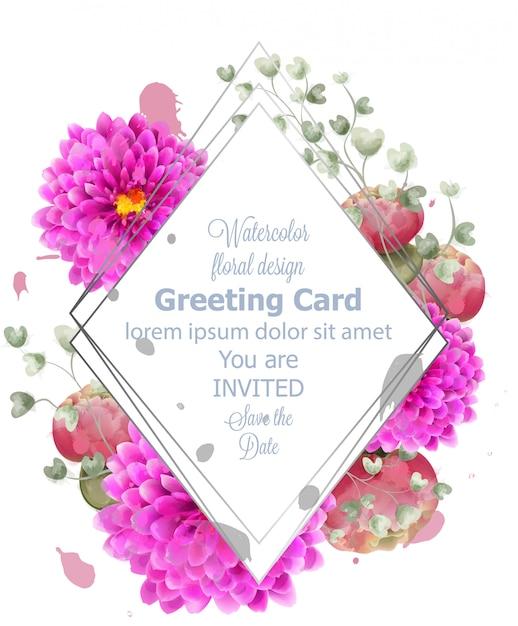 Acquerello di carta fiori di primavera Vettore Premium