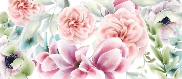 Acquerello di carta floreale di rose rosa. poster rustico provenzale Vettore Premium