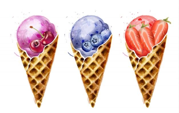 Acquerello di coni gelato Vettore Premium
