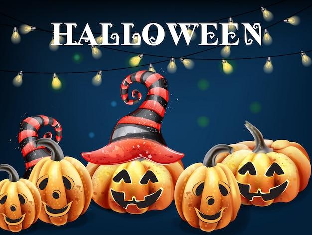 Acquerello di facce felici di zucca di halloween. decorazioni sorridenti del cappello della strega della zucca Vettore Premium