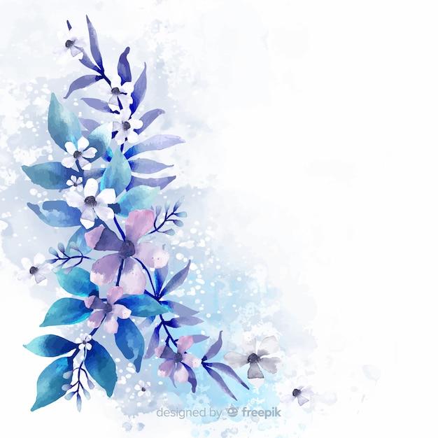Acquerello di fiori e foglie Vettore gratuito