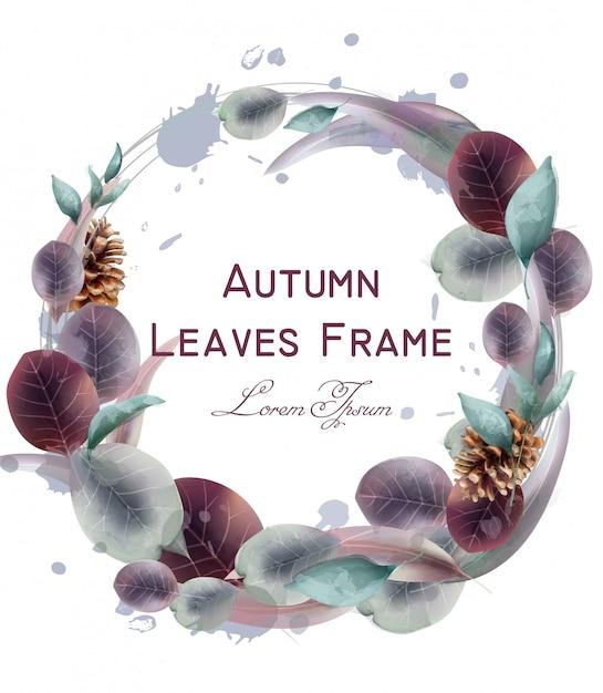 Acquerello di foglie d'autunno corona Vettore Premium