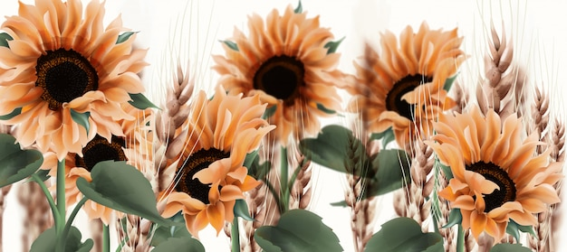 Acquerello di girasole. decorazioni floreali in stile rustico vintage Vettore Premium