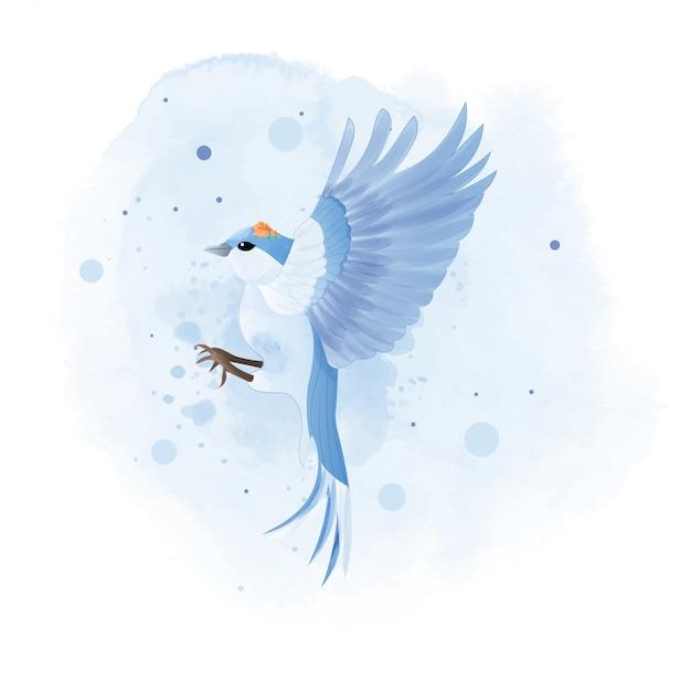 Acquerello di montagna bluebird con fiore. Vettore Premium