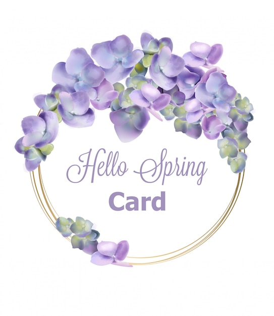 Acquerello di primavera ortensia ghirlanda Vettore Premium