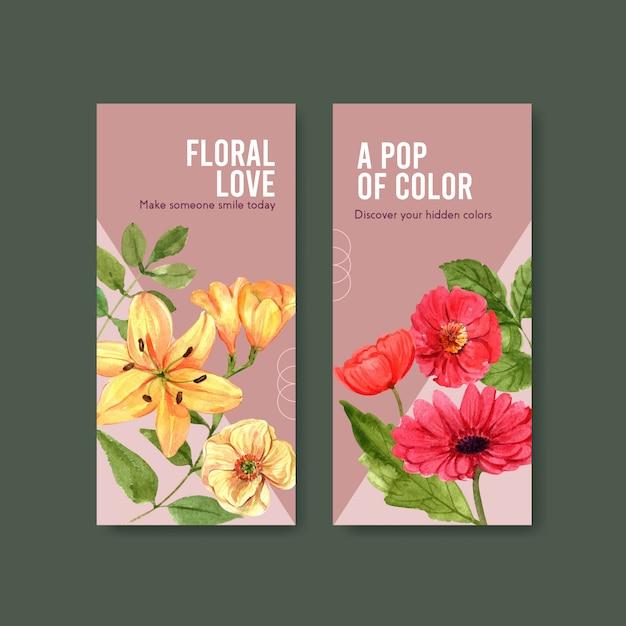 Acquerello di progettazione del modello dell'aletta di filatoio del fiore di estate Vettore gratuito