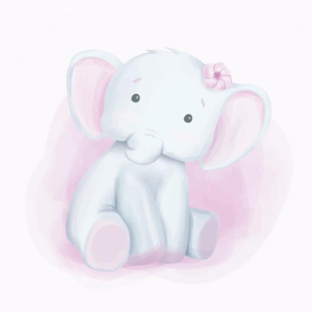 Acquerello di sguardo curioso dell'elefante di bambino Vettore Premium
