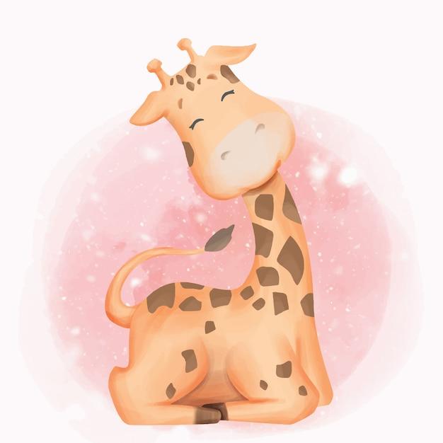 Acquerello di sorriso del fumetto del bambino della giraffa Vettore Premium