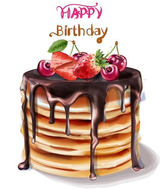 Acquerello di torta di buon compleanno Vettore Premium