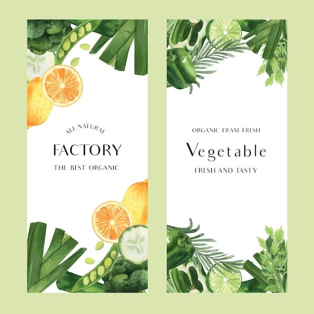Acquerello di verdure verdi azienda agricola biologica fresca per il menu di cibo Vettore gratuito