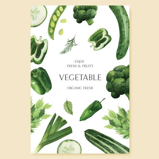 Acquerello di verdure verdi poster azienda biologica di menu idea Vettore gratuito