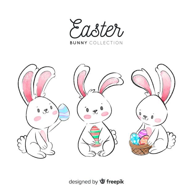 Acquerello easter bunny collection Vettore gratuito