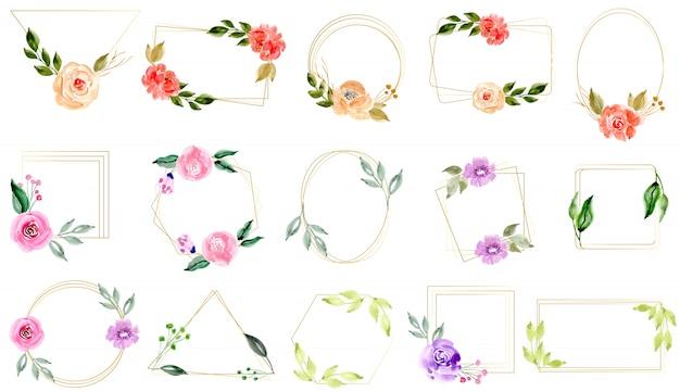 Acquerello floreale con collezione cornice dorata Vettore Premium