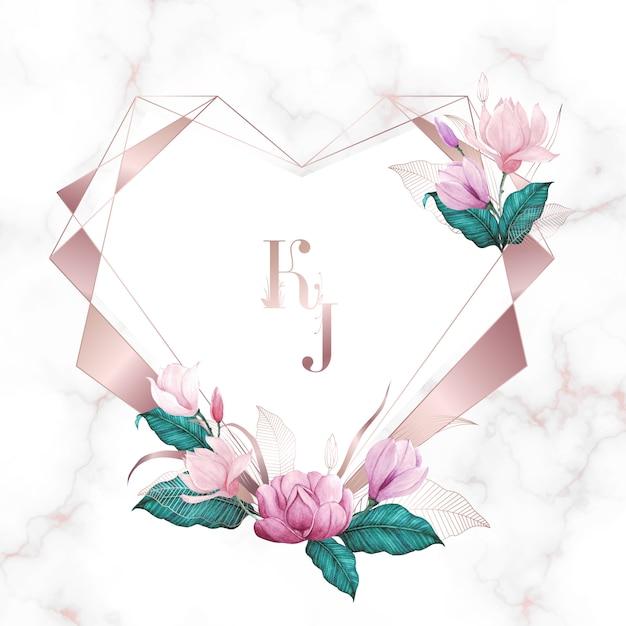 Acquerello floreale con cornice geometrica cuore oro rosa, sfondo multiuso Vettore Premium