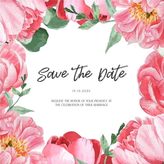 Acquerello floreale dell'acquerello delle carte di nozze dell'acquerello botanico del fiore di fioritura della peonia rosa Vettore gratuito