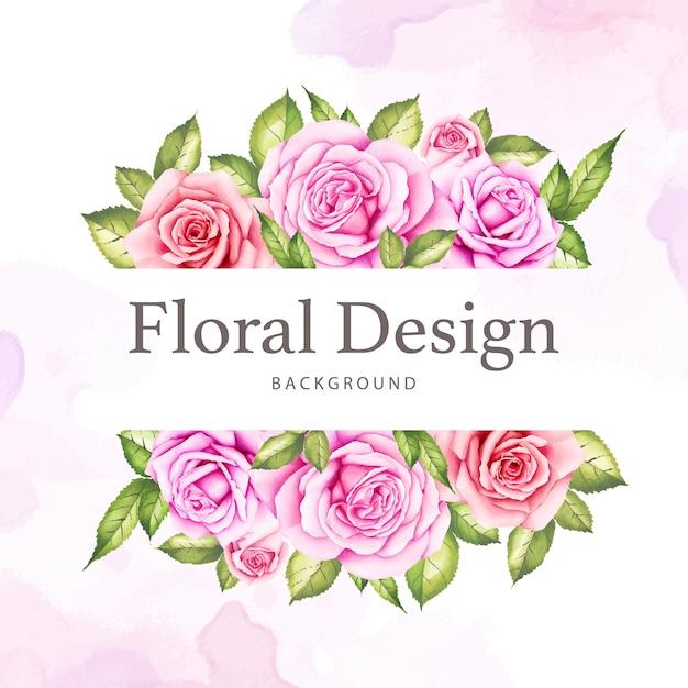 Acquerello floreale e foglie progettazione di carta di nozze Vettore Premium