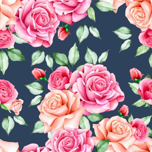 Acquerello floreale e foglie senza motivo Vettore Premium