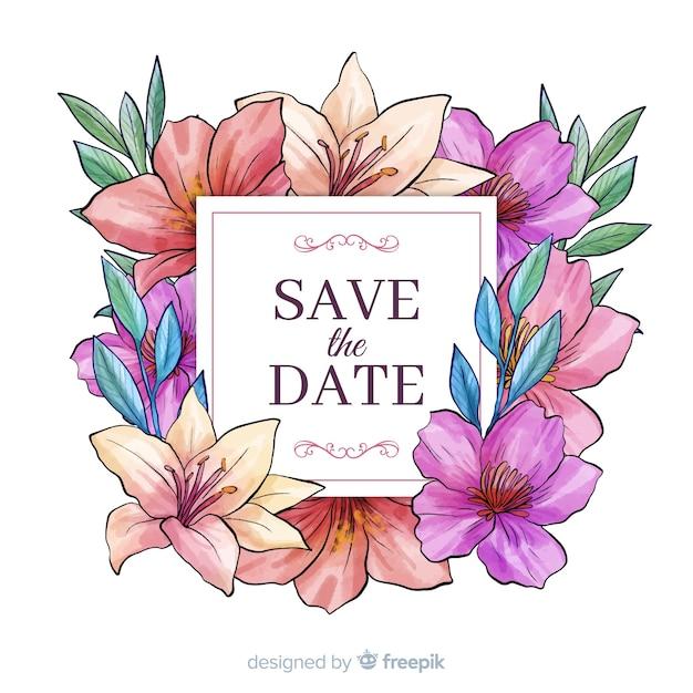 Acquerello floreale salva la data Vettore gratuito