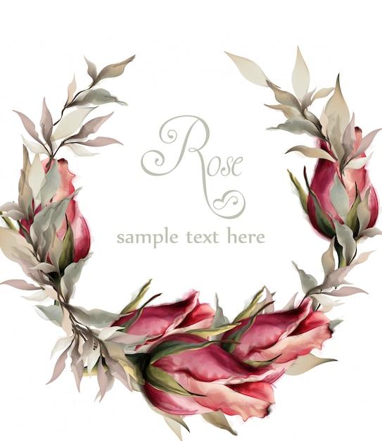 Acquerello ghirlanda di rose Vettore Premium