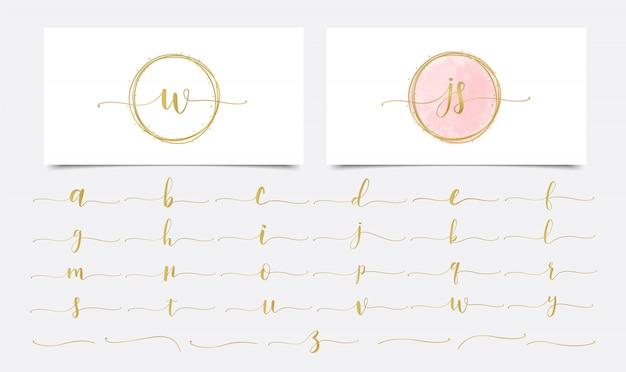 Acquerello golden initials con design dorato logo lineare Vettore Premium