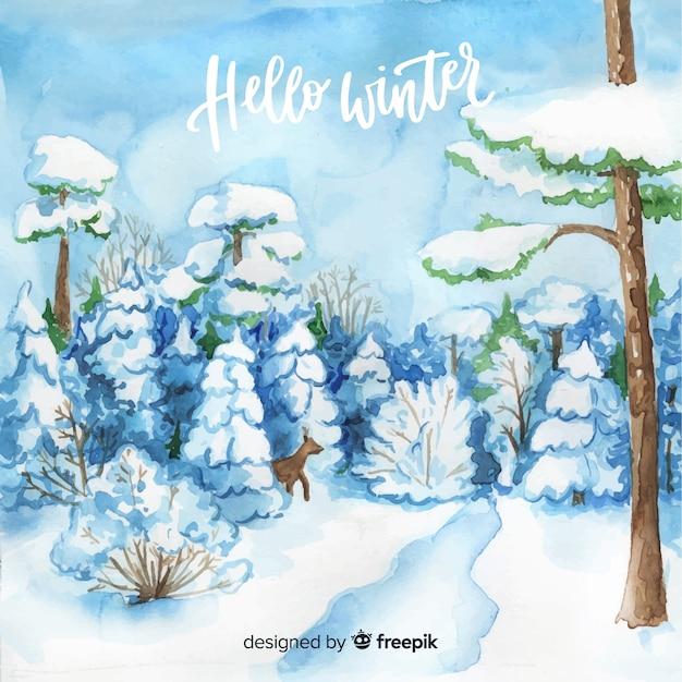 Acquerello inverno paesaggio sullo sfondo Vettore gratuito