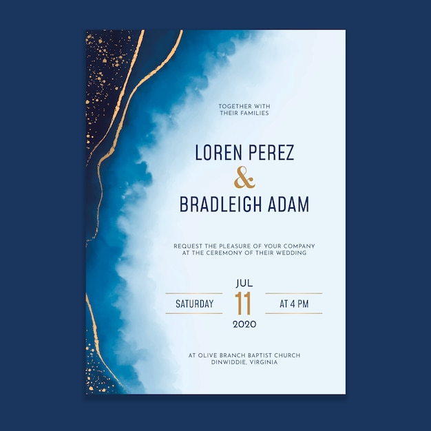Acquerello lava invito a nozze con schizzi d'oro Vettore Premium