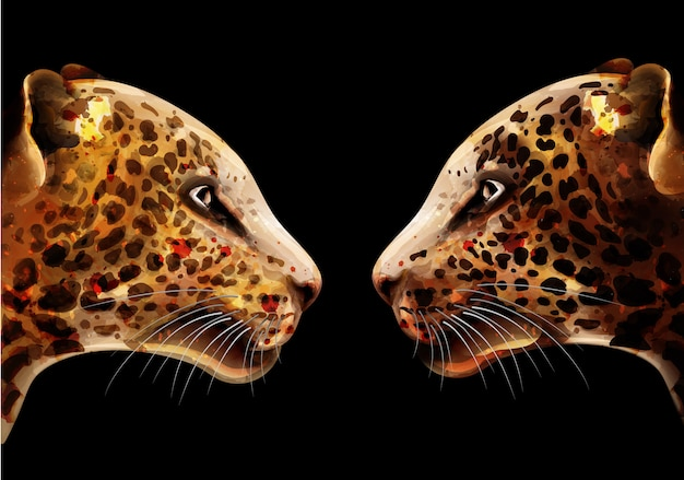 Acquerello leopardo Vettore Premium