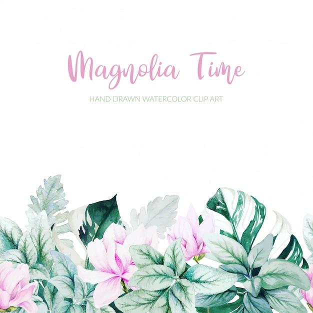 Acquerello magnolia, foglie d'argento e foglie di monstera sfondo Vettore Premium