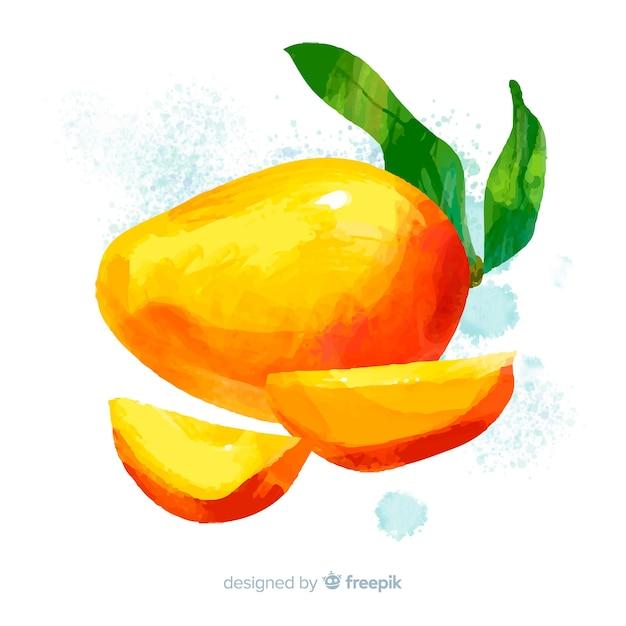 Acquerello mango e foglie di sfondo Vettore gratuito