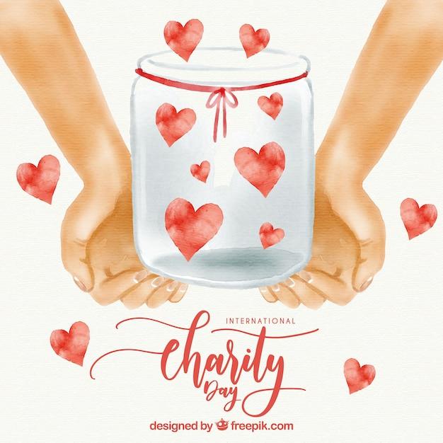 Acquerello mani con un vaso pieno di cuore Vettore gratuito