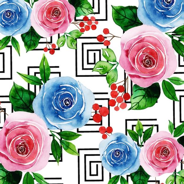 Acquerello memphis floral background Vettore Premium