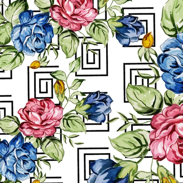 Acquerello memphis floral background Vettore Premium