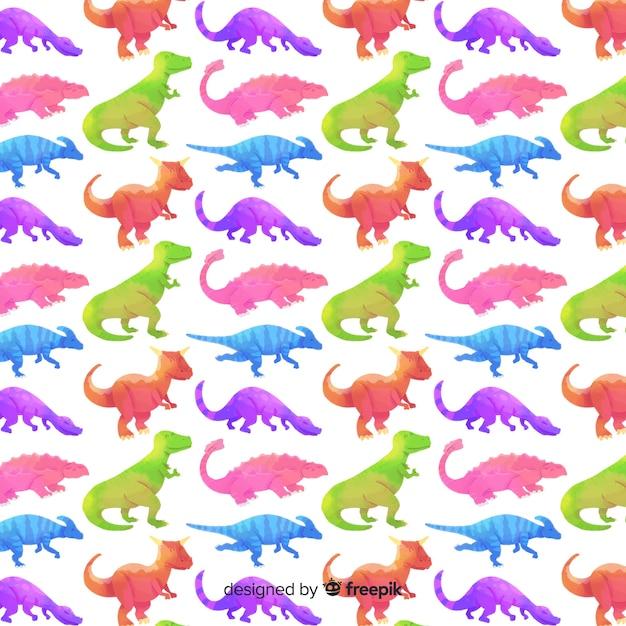 Acquerello modello di dinosauro Vettore gratuito