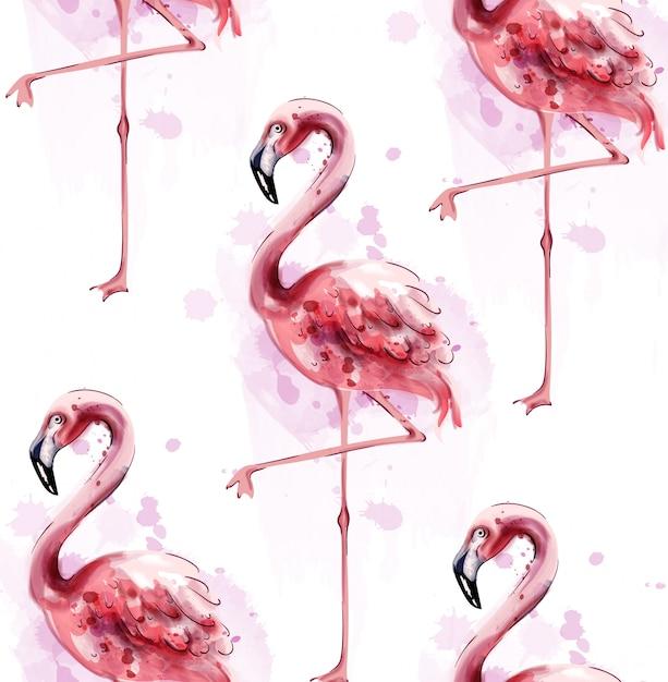 Acquerello modello flamingo Vettore Premium