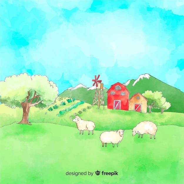 Acquerello paesaggio agricolo Vettore gratuito