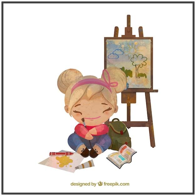 Acquerello pittore bambina Vettore gratuito