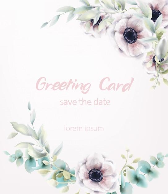 Acquerello rosa del mazzo dei fiori del papavero. decorazioni delicate di foglie blu. poster boho rustico provenzale Vettore Premium