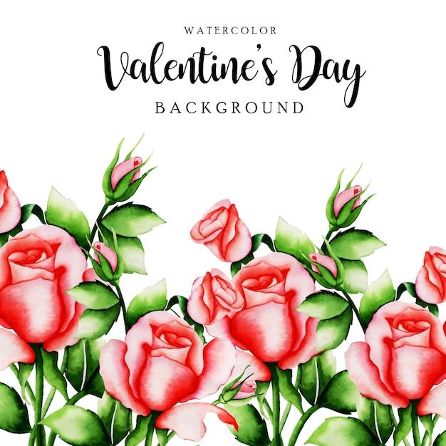Acquerello san valentino sfondo floreale Vettore Premium