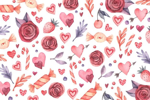 Acquerello san valentino sfondo Vettore gratuito