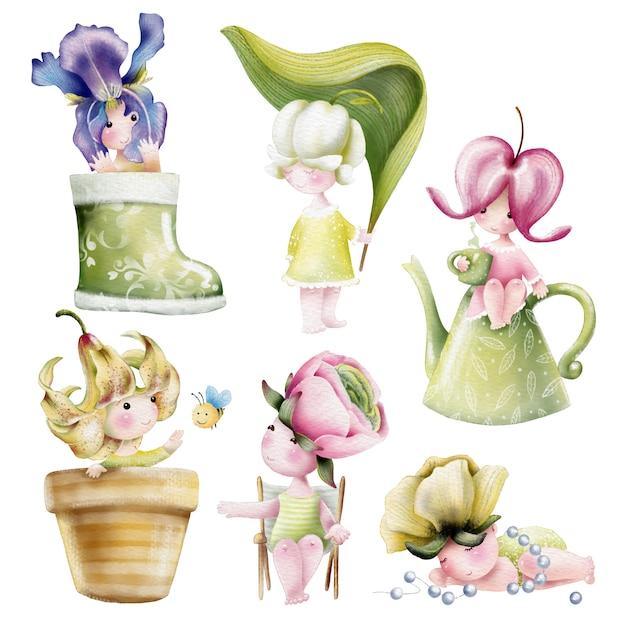Acquerello set di personaggi dei cartoni animati di fiori bambino carino Vettore Premium
