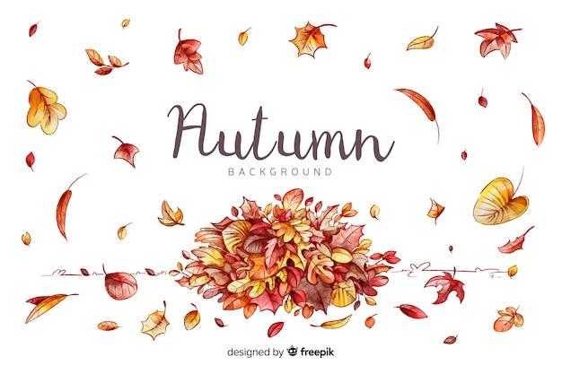 Acquerello sfondo autunnale con foglie Vettore gratuito