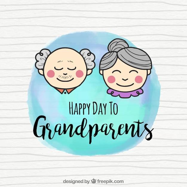 Acquerello sfondo con coppia di nonni Vettore gratuito