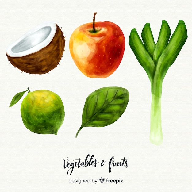 Acquerello sfondo di frutta e verdura Vettore gratuito