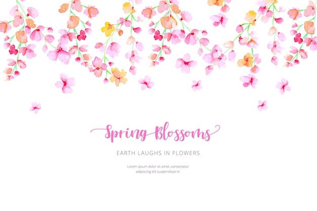 Acquerello sfondo di primavera Vettore gratuito